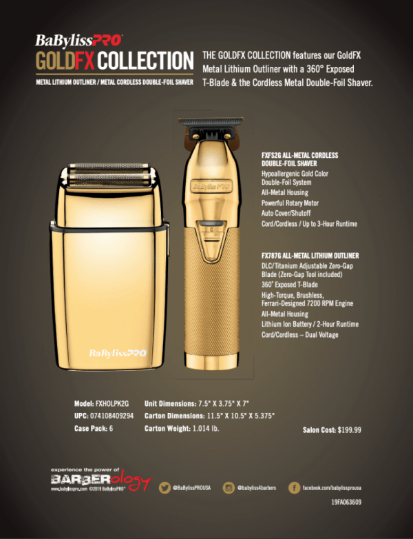 Combo Afeitadora Y Patillera De Cabello Babyliss Gold Fx Collection caja posterior
